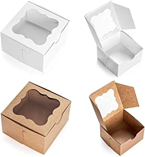 20 Cardboard White & Brown Bakery Boxes with Clear Window,(4x4x2.5inch) SQUARE Small Kraft PAPER GIFT Pie Cookie BAKERS Ca...