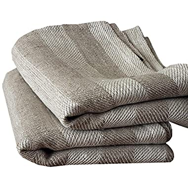 LinenMe Lucas Linen Hand and Guest Towel, Standard, Natural Striped, Prewashed 100% Linen, Made in Europe, Highest Quality