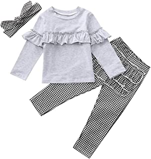 Hair Strap Costume Spring Autumn Winter Clothes for 0-4 Years Old Toddler Baby Girls 3Pcs Clothing Set Cotton Outfits Tracksuits Sport Suit Long Sleeve Ruffles Frilled Print Tops+Floral Pants
