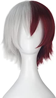 Miss U Hair Men Short Fluffy Straight Hair Half Silver Half Red Anime Lolita Cosplay Wig