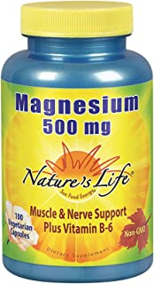 Nature's Life Magnesium 500mg | High Potency Magnesium Supplement Plus Vitamin B-6 for Muscle & Nerve Support