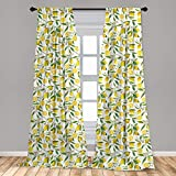 Ambesonne Nature 2 Panel Curtain Set, Exotic Lemon Tree Branches Yummy Delicious Kitchen Gardening Design, Lightweight Window Treatment Living Room Bedroom Decor, 56' x 84', Fern Green