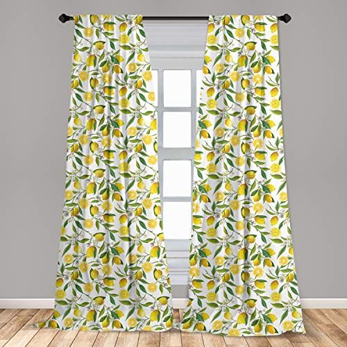 """Ambesonne Nature 2 Panel Curtain Set, Exotic Lemon Tree Branches Yummy Delicious Kitchen Gardening Design, Lightweight Window Treatment Living Room Bedroom Decor, 56"""" x 63"""", Fern Green"""
