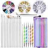 24 Pezzi Nail Art Design Set, 5 Pezzi a 2 Modo Penne di Penna di Punteggiatura, 15 Pennell...