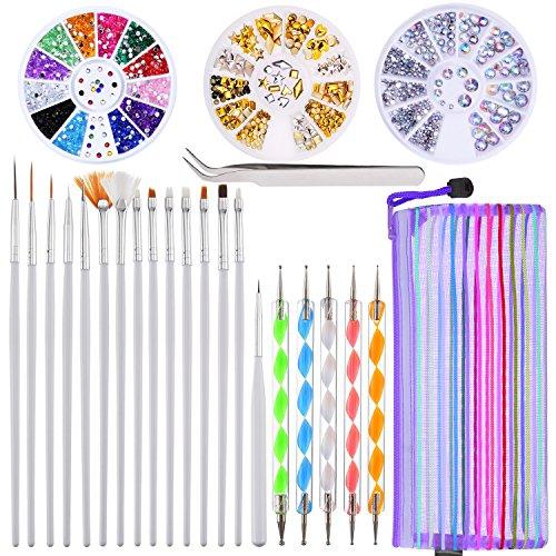 Kit de Diseño de Arte de Uña de 24 Piezas, 5 Piezas de Lápiz de Punto de 2 Extremos, Juego de 15 Pinceles de Pintura Pulido, Pinzas de Arte de Uña, 3 Cajas de Diamantes de Uñas Coloridos Pernos Platea