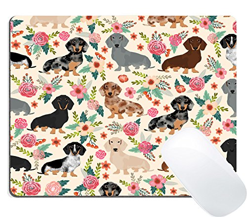 Dachshund Sausage Dogs Puppies Pink Flowers Print Art Gaming Mouse Pad Custom, Cute Colored Floral Daschund Seamless Dog Design Print Art