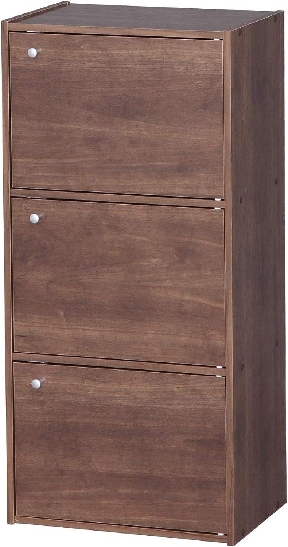 IRIS 3-Door Wood Storage Shelf, Brown