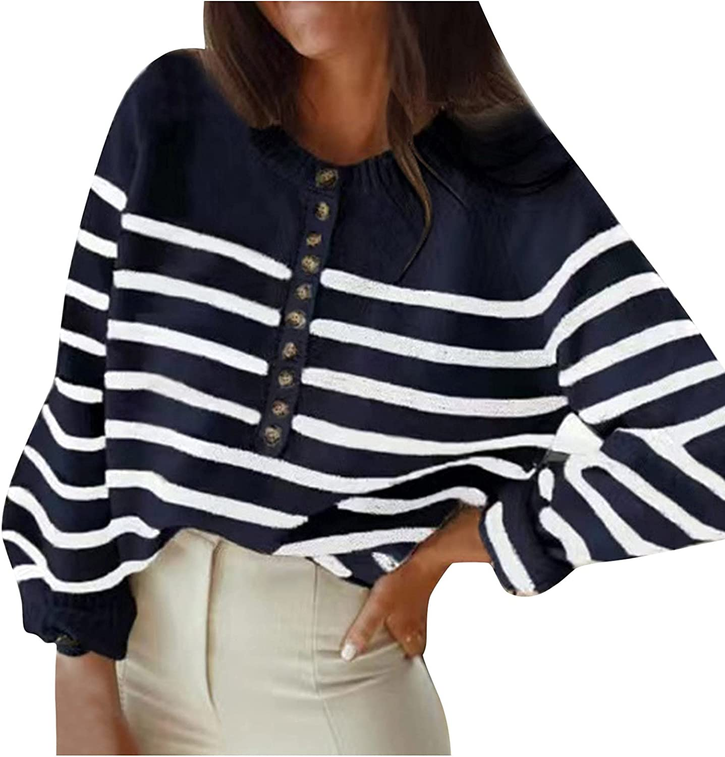 Women's Knit Cardigan Sweater Long Sleeve Button Down Crewneck Cute Striped Basic Classic Casual Soft Knitted Sweater Top