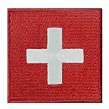 Bandera de Suiza Emblema Nacional Parche Bordado de Aplicación con Plancha