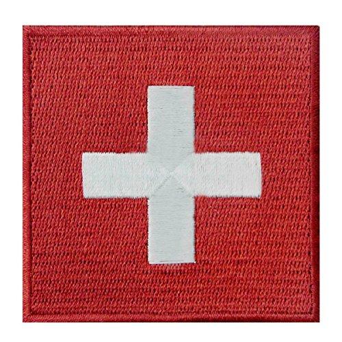 Schweiz Flagge Flicken Bestickter Aufnäher zum Aufbügeln/Annähen