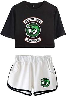 Camiseta y Pantalón Corto Riverdale Adolescente Chica Serpientes Camiseta de Manga Corta Verano Conjunto Deportivo para Ni...