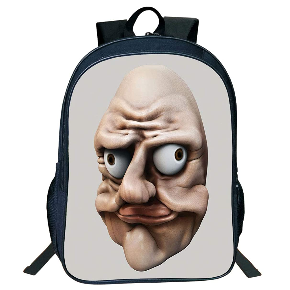 3D Print Design Black Double-Deck Rucksack,Humor,Grumpy Internet Troll Face with Trippy Gestures Ugly Post Meme Joke Image Decorative,Egg Shell and Tan,for Kids,Personalized Design.15.7