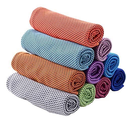 9 paquetes de toalla de hielo toalla de microfibra suave transpirable y fría toalla permanecer fresca para yoga, deporte, gimnasio, entrenamiento, camping, fitness, correr, más actividades