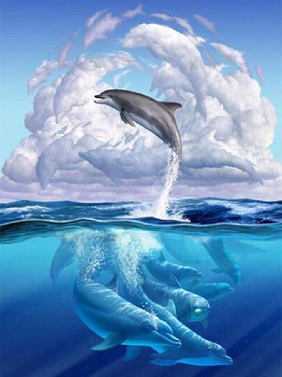 21secret 5D Diamond Diy Painting Full Round Drill Handmade Dolphins White Clouds Sea Cross Stitch Home Decor Embroidery Kit