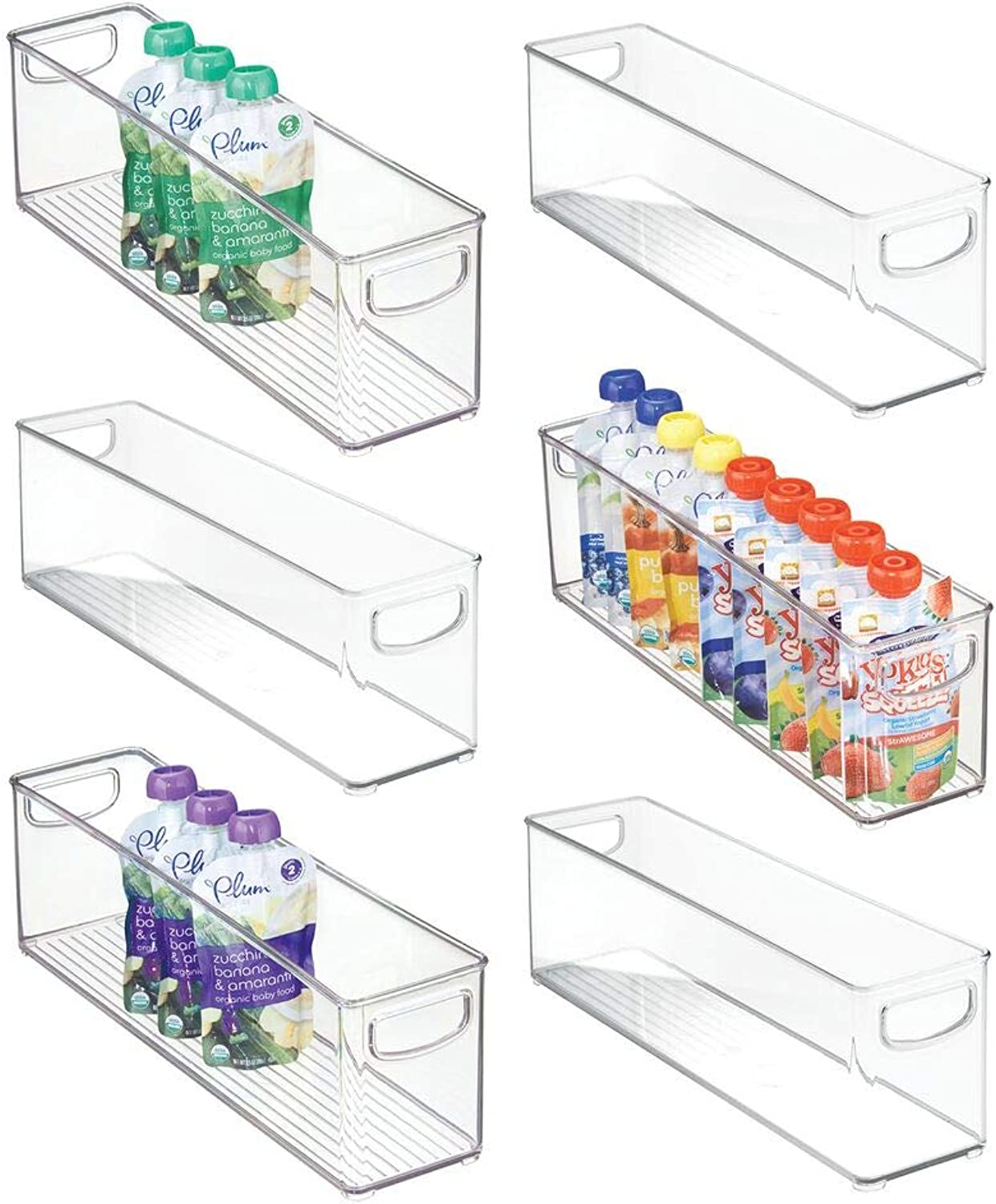 MDesign Kitchen Refrigerator Cabinet or Pantry Baby Food Storage Organizer Bin with Handles for Breast Milk, Pouches, Jars, Bottles, Formula, Juice Boxes - BPA Free, 16  x 4  x 5  - 6 Pack - Clear