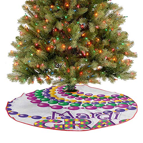 Homesonne Tassel Christmas Tree Skirt Colorful Beads Party Necklaces with Mardi Gras Calligraphy Patterned Design Decoration Ornaments for Merry Christmas Holiday Party Decorations Multicolor 30 Inch