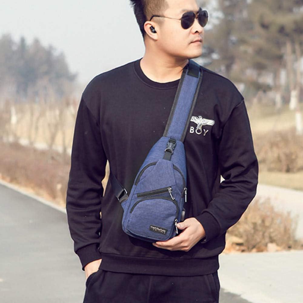 Navy Blue Downupdown Men Women Chest Pack Single Shoulder Strap Crossbody Bag Canvas USB Charging Sling Bag