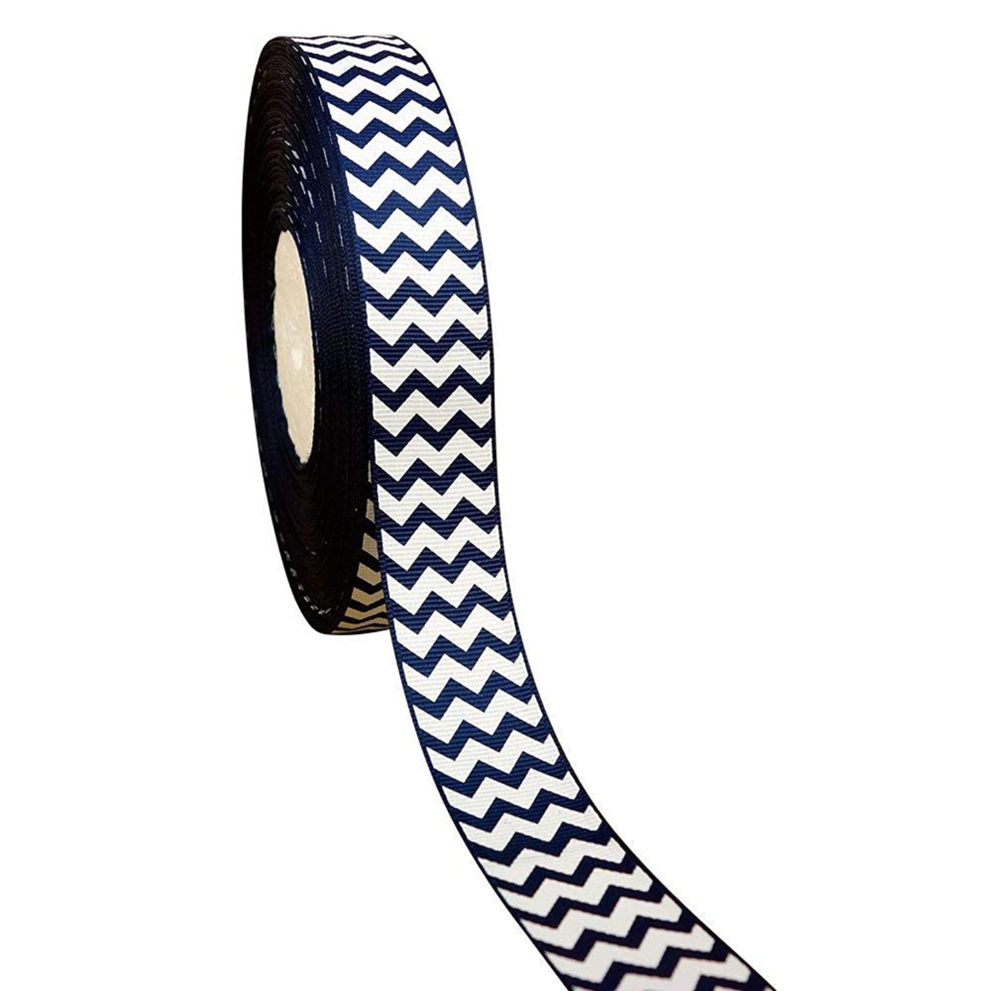 50 Yards 1 Inch White Chevron Printed Navy Grosgrain Ribbon Hairbow Sewing Craft Supplies Decorative