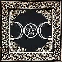 Altar Tarot Cloth: Triple Goddess With Pentagram - 24 x 24 (Gold/Silver on Black Pentacle/Pentagram) 【Creative Arts】 [並行輸入品]