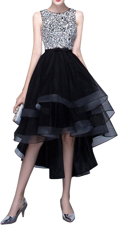 Duraplast Women's High Low Prom Dress Glitter Keyhole Black
