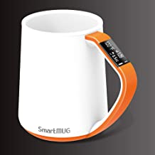 12 Oz Smart Mug Shows and Tracks Temperature and Volume on its OLED Display and iCUP app with Lid and Batteries Included(Orange)
