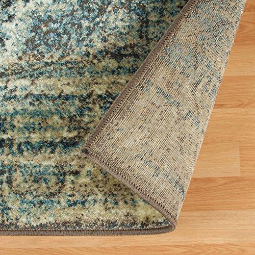 SUPERIOR Eddard Indoor Area Rug, Super Soft, Durable, Elegant, Vintage, Moroccan Pattern, Jute Backing, Blue Beige, 6' x 9' Runner