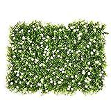 Siepe artificiale, pannelli di foglie di edera per prato, protezione dagli sguardi indiscreti, in plastica verde, decorazione per giardino, balcone, terrazza, 60 x 40 cm, bianco, 1 confezione