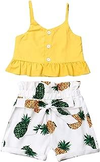 Toddler Baby Girls Outfits Clothes Set Halter Crop Tops + Flamingo Short Pants