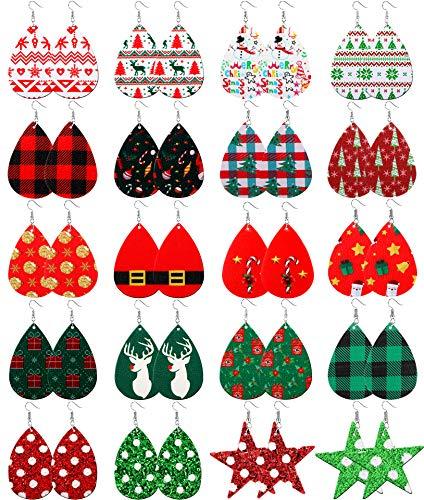 SHIWE 20 Pairs Christmas Faux Leather Earrings for Women Handmade Lightweight Earrings Teardrop Drop Dangle Xmas Earrings Set