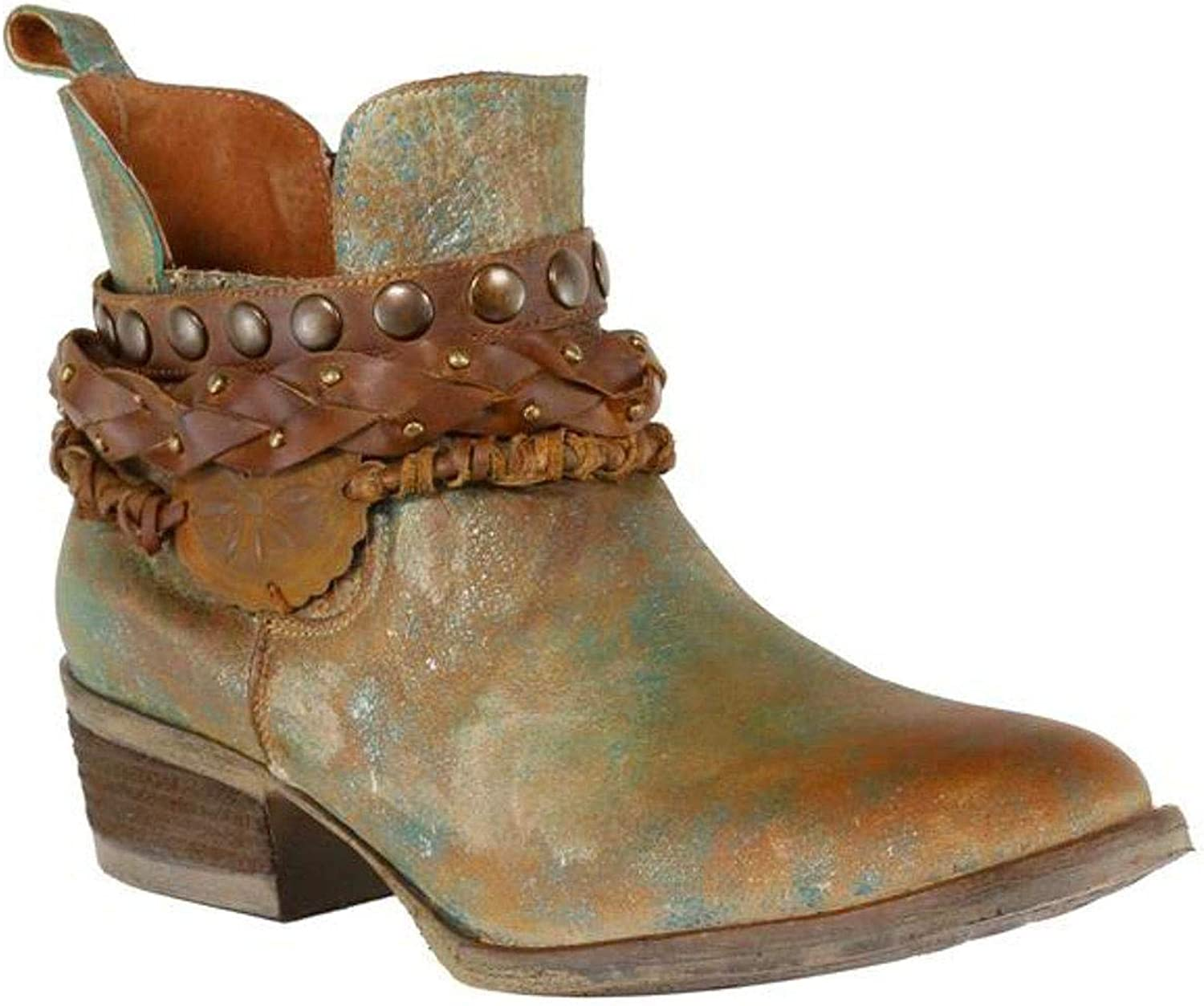 Corral Women's Green Harness & Stud Details Round Toe Leather Western Ankle Cowboy Boots - Sizes 5-12 B