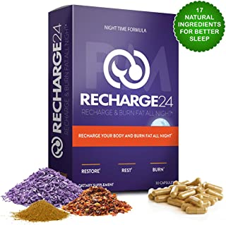 RECHARGE24 PM Sleep Aid, 100% Natural Sleeping and Weight Loss Pills with Melatonin and Valerian Root, Supports Stress Resiliency, Insomnia and Anxiety Relief, Natural Fat Burner: 30 Vegan Capsules
