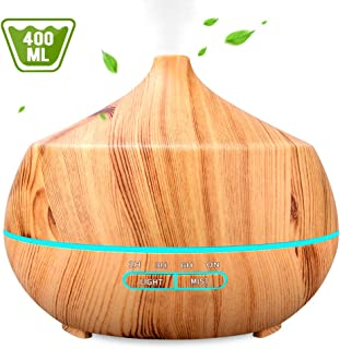 INSMART Aromatherapy Essential Oil Diffuser 400ML, Ultrasonic Cool Mist Humidifier with 7 Color LED Lights & 4 Timer for Bedroom Office Yoga Spa - Light Wood Grain