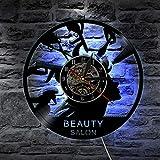 GVC 1 Pieza peluquería salón de Belleza Silueta lámpara de Pared Disco de Vinilo Reloj de Pared peluquería Herramientas Signo Peine Tijeras LED lámpara de Noche