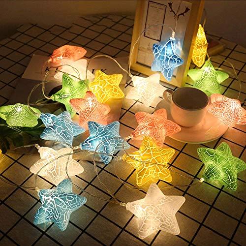 Kaliwa LED Lichterkette mit Sternen Batteriebetriebe Weihnachtsbeleuchtung, 2 Modi, IP44 Wasserdicht, ideal für Kinderraum, Innenräume, Weihnachten, Partydeko (farbenfroh)