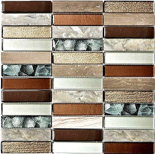 Mosaik Fliese Transluzent hellbraun silber grau Rechteck Glasmosaik Crystal Stein hellbraun für WAND BAD WC DUSCHE KÜCHE FLIESENSPIEGEL THEKENVERKLEIDUNG BADEWANNENVERKLEIDUNG Mosaikmatte Mosaikplatte