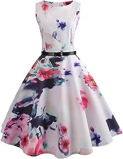 7492d5662a Uscharm Girls Loose Dress Womens Vintage Flower Print Bodycon Sleeveless  Evening Party Ruffle Dress