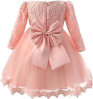 52eb7e5432024c Vestito Bambina Elegante Manica Lunga con Fiocco Pizzi tutu per Compleanno  Partito Festa Nuziale Prom Rosa