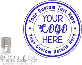 Custom Business Logo Double Round Border Stamp - 3 Lines of Text - Self Inking Stamper - Rubber Personalized Stamp - Stamps for Local Business - Personalized Business Stamps (Blue)