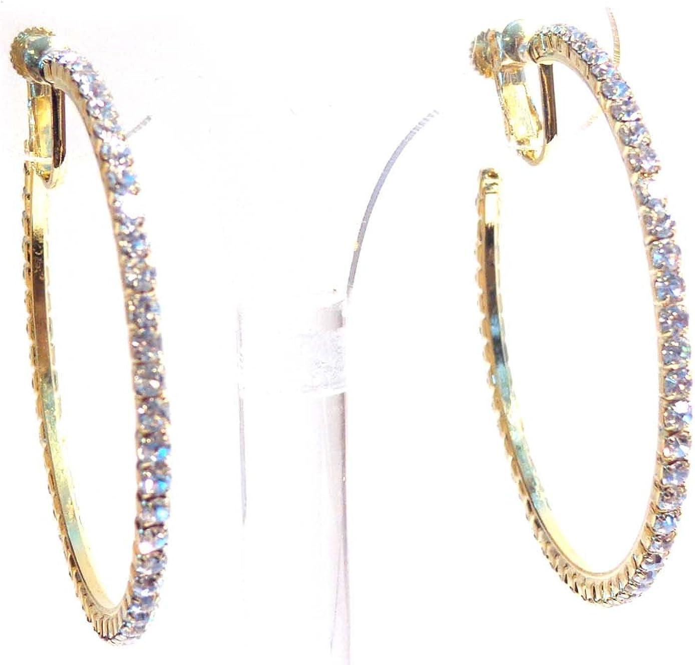 Clip-on Earrings Gold Tone Crystal Hoop Earrings 2 Inch Clip Hoop Earrings for Non Pierced Ears
