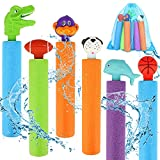 6 PCS Water Gun Shooter Set, Super Foam Soakers Blaster Squirt Guns, Pool Noodles Toy with Plastic Handle Summer Swimming Beach Garden Fighting Game, Outdoor Toys for Age 3 4 5 6 7-12 Boys Girls Gifts