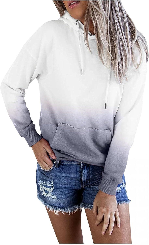 Aniwood Crewneck Sweatshirts for Women Teen Girls Gradient Print Hoodie Casual Long Sleeve Drawstring Solid Jackets Coat