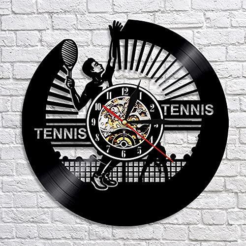 QIANGTOU Reloj de Pared de Tenis, Silueta de Jugador de Tenis, Reloj de Pared con Disco de Vinilo, Tema Deportivo Vintage, Raqueta, decoración del hogar, Regalo para ama
