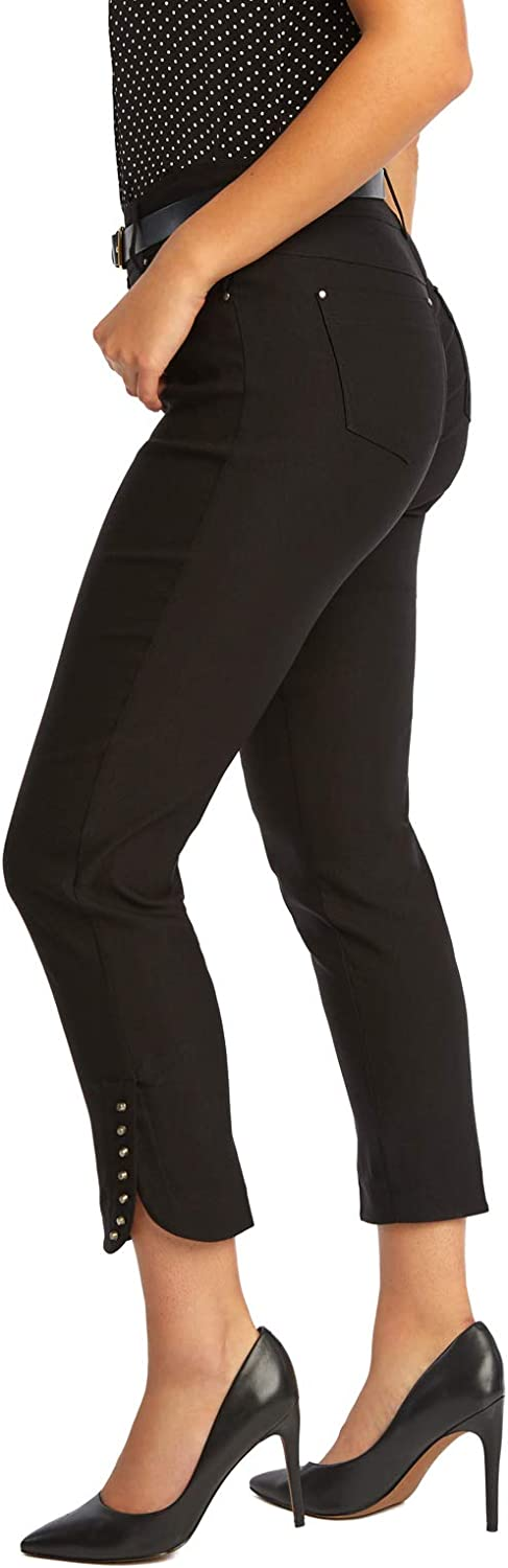 89th + Madison Women's Studded Cuff Stretch Straight Leg Pants