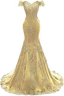 Women's Off The Shoulder Prom Dress Long Mermaid Lace Beaded Evening Ball Gown