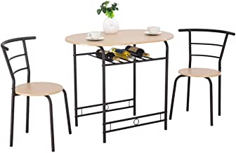 Giantex 3 PCS Dining Table Set w/ 1 Table and 2 Chairs Home Restaurant Breakfast Bistro Pub Kitchen Dining Room Furniture (Natural)