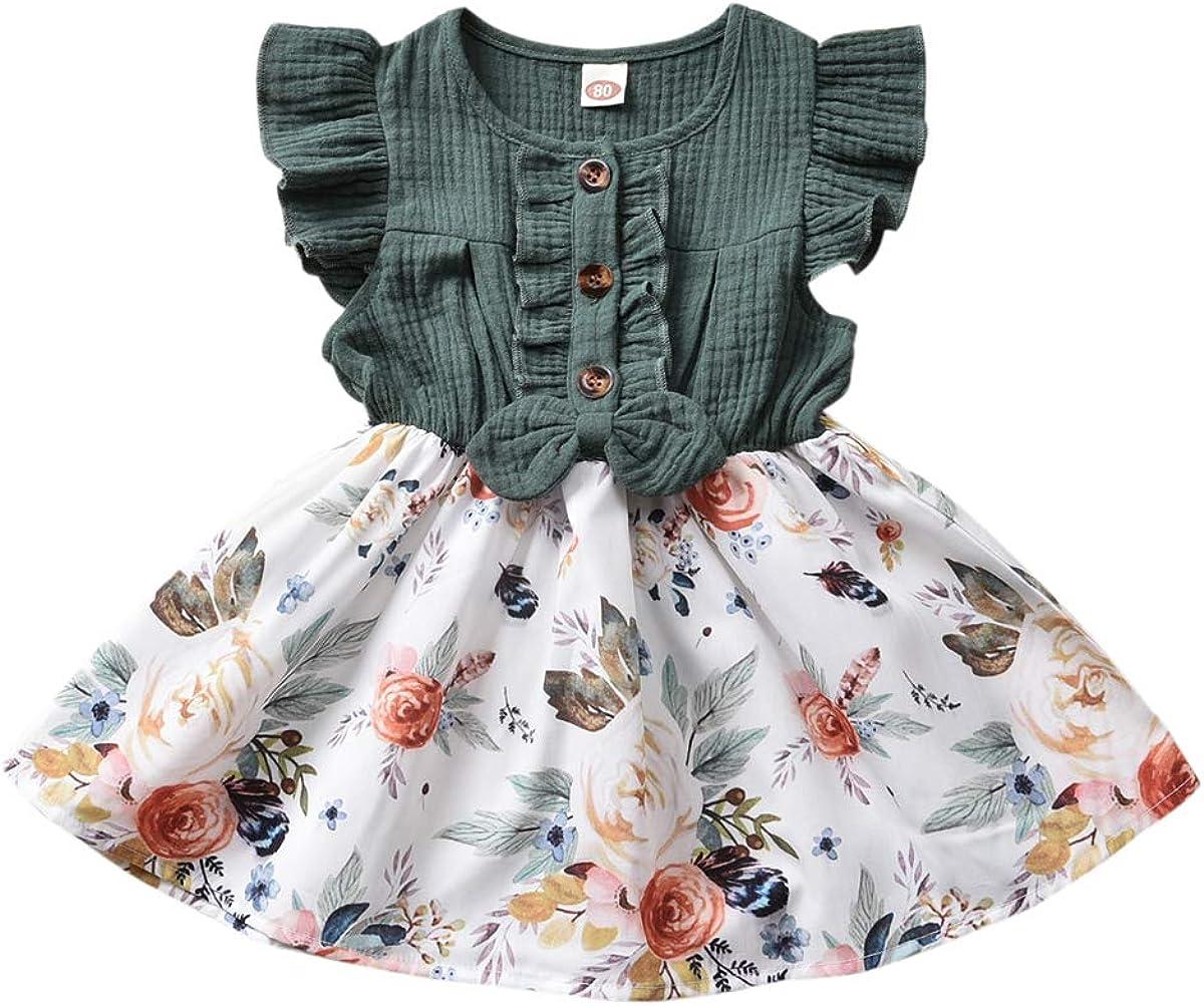 Toddler Baby Girls Financial sales sale Kid Floral Dress Spl Ruffle Cotton Denim Tops Washington Mall