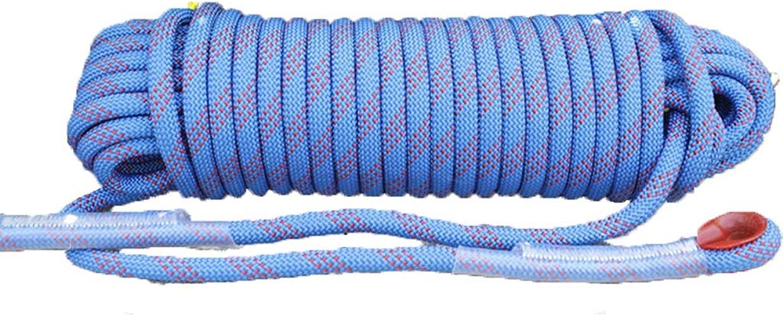 LINLIM Corde d'escalade 12mm 10m-50m Corde en Nylon Extensible Extensible pour Secours en Plein Air bleu- 12mm 30m
