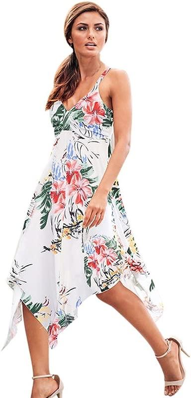 Kemilove Womens Summer Floral Skirt Party Holiday Beach Sundress Long Dress