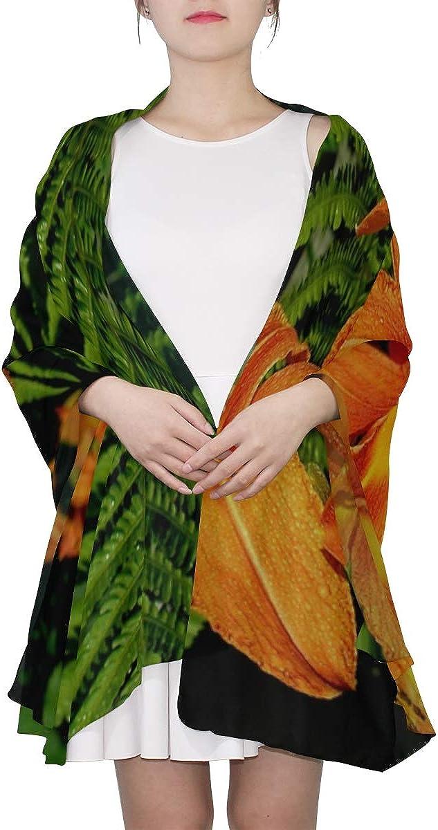 Womens Neck Scarf Daylily Lily Orange Garden Plant Flower Flora Soft Scarf Womens Scarf Lightweight Print Scarves Boys Scarf Fashion Scarfs Women