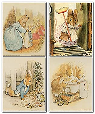 The Tale of Peter Rabbit Beatrix Potter Kids Room Four Set 8x10 Wall Decor Art Print Poster